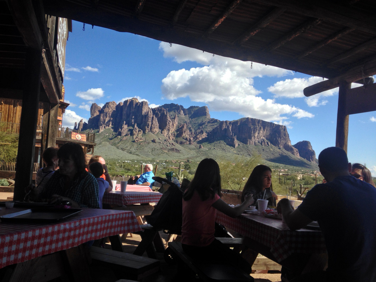 view from patio at goldfield ghost town