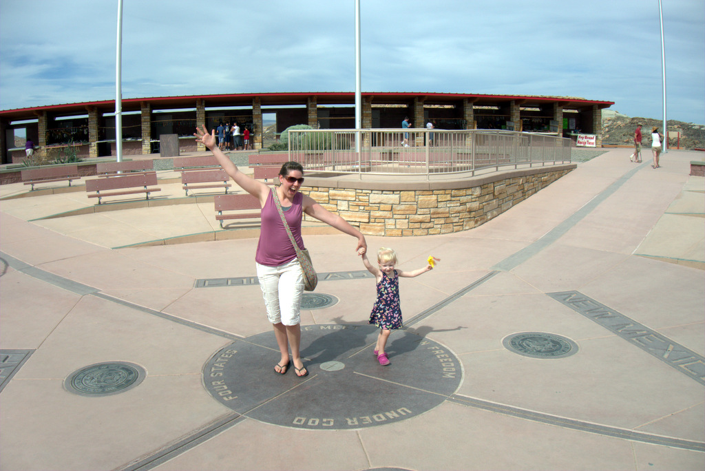 posing at four corners
